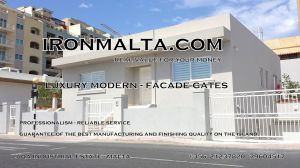 Drive In - Entry Gates - Big Gates Malta wrought iron art metal work works galvanized paint modern contemporary traditional facade white black grey color 012