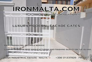 Drive In - Entry Gates - Big Gates Malta wrought iron art metal work works galvanized paint modern contemporary traditional facade white black grey color 017