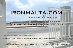 Drive In - Entry Gates - Big Gates Malta wrought iron art metal work works galvanized paint modern contemporary traditional facade white black grey color 018
