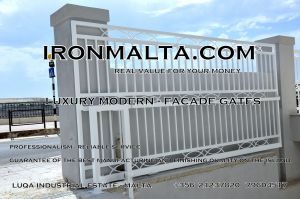 Drive In - Entry Gates - Big Gates Malta wrought iron art metal work works galvanized paint modern contemporary traditional facade white black grey color 011