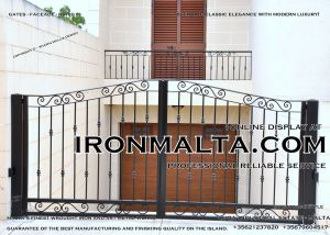 Drive In - Entry Gates - Big Gates Malta wrought iron art metal work works galvanized paint modern contemporary traditional facade white black grey color 003.JPG