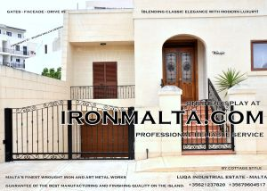 Drive In - Entry Gates - Big Gates Malta wrought iron art metal work works galvanized paint modern contemporary traditional facade white black grey color 004.JPG