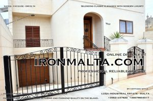 Drive In - Entry Gates - Big Gates Malta wrought iron art metal work works galvanized paint modern contemporary traditional facade white black grey color 006.JPG
