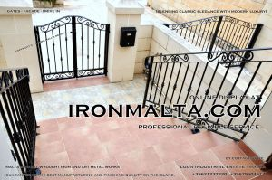 Drive In - Entry Gates - Big Gates Malta wrought iron art metal work works galvanized paint modern contemporary traditional facade white black grey color 008.JPG