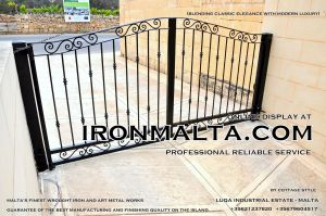 Drive In - Entry Gates - Big Gates Malta wrought iron art metal work works galvanized paint modern contemporary traditional facade white black grey color 009.JPG