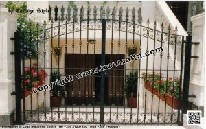 Drive In - Entry Gates - Big Gates Malta wrought iron art metal work works galvanized paint modern contemporary traditional facade white black grey color 022
