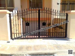Drive In - Entry Gates - Big Gates Malta wrought iron art metal work works galvanized paint modern contemporary traditional facade white black grey color 024