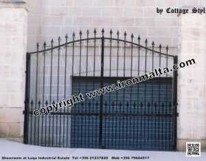 Drive In - Entry Gates - Big Gates Malta wrought iron art metal work works galvanized paint modern contemporary traditional facade white black grey color 026