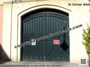 Drive In - Entry Gates - Big Gates Malta wrought iron art metal work works galvanized paint modern contemporary traditional facade white black grey color 027