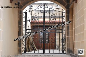 Drive In - Entry Gates - Big Gates Malta wrought iron art metal work works galvanized paint modern contemporary traditional facade white black grey color 028