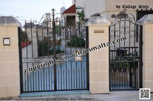 Drive In - Entry Gates - Big Gates Malta wrought iron art metal work works galvanized paint modern contemporary traditional facade white black grey color 031
