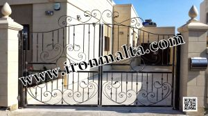 Drive In - Entry Gates - Big Gates Malta wrought iron art metal work works galvanized paint modern contemporary traditional facade white black grey color 034