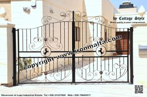 Drive In - Entry Gates - Big Gates Malta wrought iron art metal work works galvanized paint modern contemporary traditional facade white black grey color 013