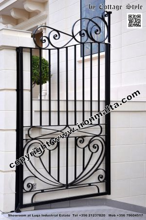 Drive In - Entry Gates - Big Gates Malta wrought iron art metal work works galvanized paint modern contemporary traditional facade white black grey color 037