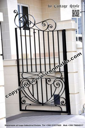 Drive In - Entry Gates - Big Gates Malta wrought iron art metal work works galvanized paint modern contemporary traditional facade white black grey color 038