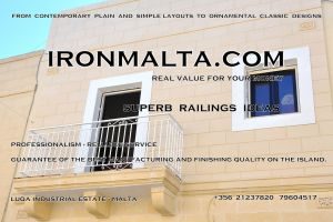 a8b-001 railings wrought iron works malta  balcony balconies galvanized sprayied coated exterior design ideas modern contemporary classic plain white black grey.JPG