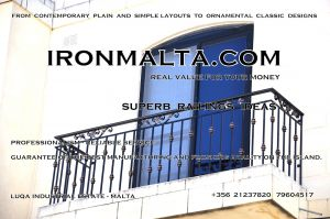 b1e wrought iron works malta  balcony balconies galvanized sprayied coated exterior design ideas modern contemporary classic plain white black grey.JPG