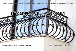b6a wrought iron works malta  balcony balconies galvanized sprayied coated exterior design ideas modern contemporary classic plain white black grey.JPG