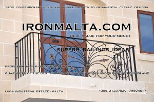 c2a-001 wrought iron works malta  balcony balconies galvanized sprayied coated exterior design ideas modern contemporary classic plain white black grey.JPG
