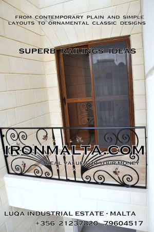 c3c railings wrought iron works malta  balcony balconies galvanized sprayied coated exterior design ideas modern contemporary classic plain white black grey.JPG