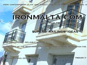 a3e wrought iron works malta  balcony balconies galvanized sprayied coated exterior design ideas modern contemporary classic plain white black grey.JPG