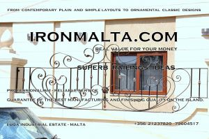 d4a railings wrought iron works malta  balcony balconies galvanized sprayied coated exterior design ideas modern contemporary classic plain white black grey.JPG